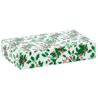 "9 3/8"" x 5 5/8"" x 2"" 2-Piece 2 lb. Holly Candy Box - 125/..."