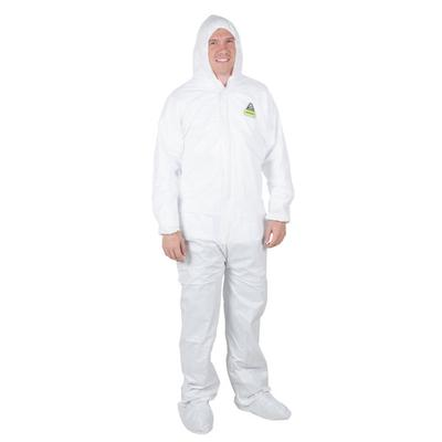 White Disposable Microporous Coveralls with Hood - Medium