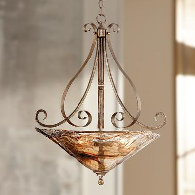 """Franklin Iron Works Amber Scroll 24 3/4"""" Wide Pendant Light"""