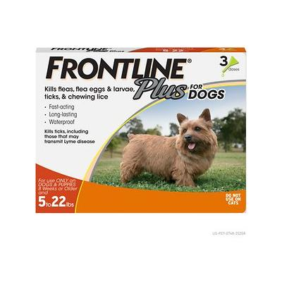 Frontline Plus Flea & Tick Treatment for Small Dogs & Puppies (up to 22 pounds), 3 treatments
