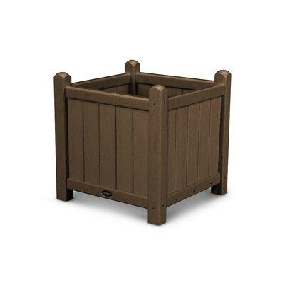 Polywood Traditional 16 in. Square Recycled Plastic Garden Planter Teak - GP16TE