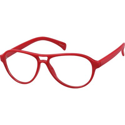 Zenni Aviator Prescription Glasses Red Frame Plastic 806018