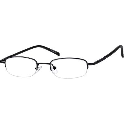 Zenni Classic Oval Prescription Glasses Half-Rim Black Frame Stainless Steel 452021