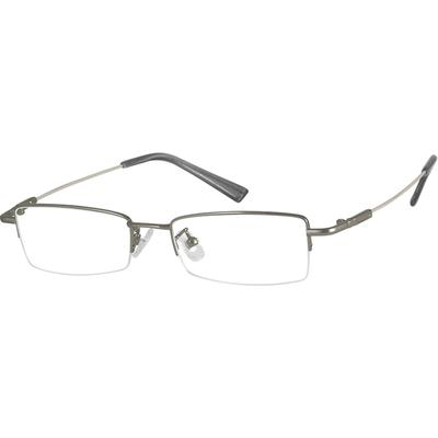 Zenni Mens Lightweight Rectangle Prescription Glasses Half-Rim Gray Frame Memory Titanium 311012