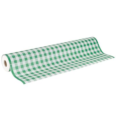 "40"" x 300' Paper Table Cover with Green Gingham Pattern"