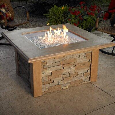 Outdoor GreatRoom Company SIERRA-2424-M-K Sierra Firepit Table with Ledgestone and Supercast Top in MOCHA Finish and CF2424 - 24 in. x 24 in. Square Crystal Fire Burner