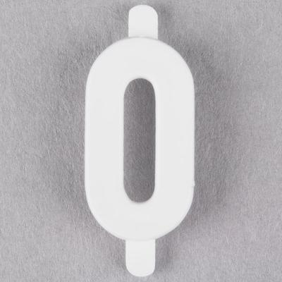 "1"" White Molded Plastic Number 0 Deli Tag Insert - 50/Set"