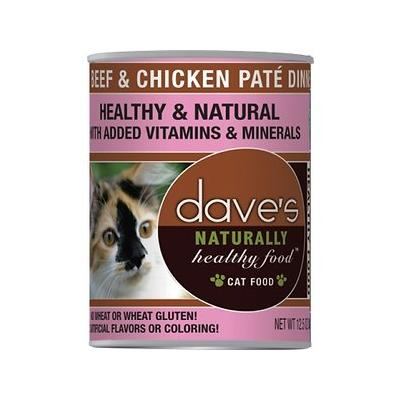 Dave's Pet Food Naturally Healthy Grain-Free Beef & Chicken Dinner Canned Cat Food, 12.5-oz
