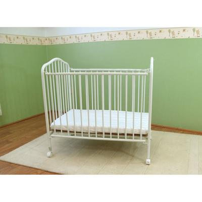 "L.A. Baby CS-81 24"" x 38"" White Metal Folding Crib with 2..."