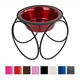 Platinum Pets Olympic Single Elevated Wide Rimmed Pet Bowl, Candy Apple Red, Small