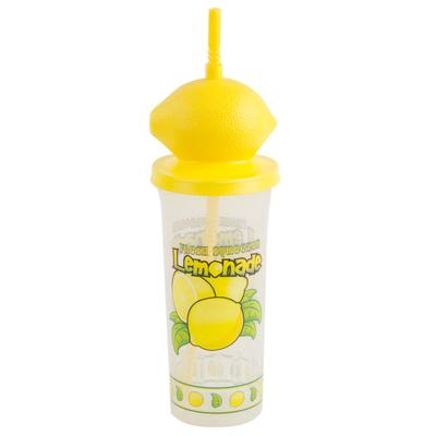 32 oz. Tall Plastic Cold Cup with Straw and Lemon Top Lid...