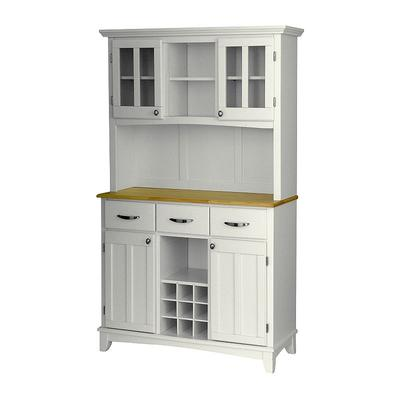 Large Hutch Buffet - Natural Wood Top, White