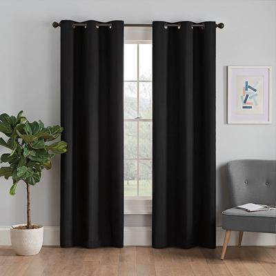 eclipse Microfiber Thermaback Blackout Window Curtain, Black