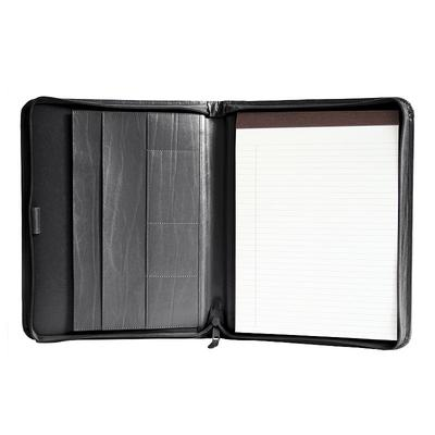 Royce Leather Zippered Convertible Padfolio, Black
