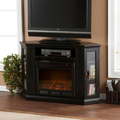 Abbey Convertible Media Console Electric Fireplace, Black
