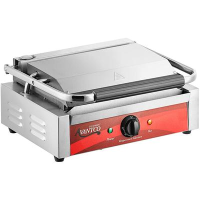Avantco P78 Grooved Commercial Panini Sandwich Grill - 13...