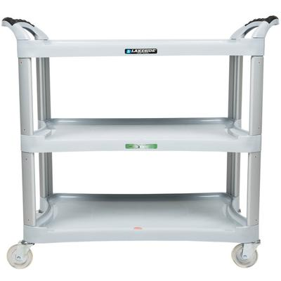 Lakeside 2510 Light Gray Plastic Three Shelf Utility Cart...