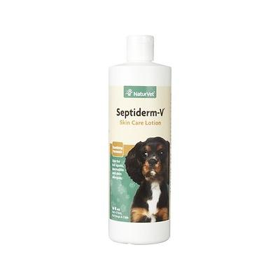 NaturVet Septiderm-V Lotion for Dogs & Cats, 16-oz bottle; For dogs, cats and horses over six weeks of age. Septiderm-V Lotion is a soothing, non-greasy lotion. It may be applied as often as necessary. Recommended to be used in conjunction with regular...