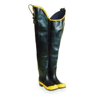VALUE BRAND Size 11 Hip Boots, Men's, Black/Yellow, Steel...