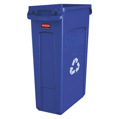 23 gal. Utility Container Rectangular, Blue Plastic RUBBE...