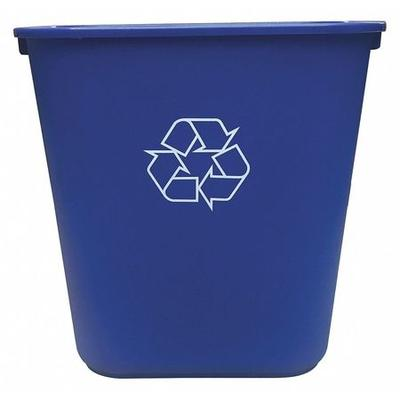 10 gal. Desk Recycling Container Rectangular, Blue Plasti...