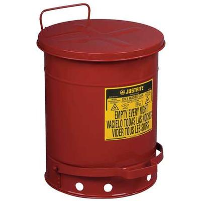 """JustRite JUS09300 Red Oily Waste Can, 10 Gallon, Lever Lid, 13-15/16"""" Diameter, Foot Operated Cover"""
