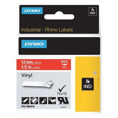 DYMO 1805416 Label Cartridge,White/Red,18 ft. L