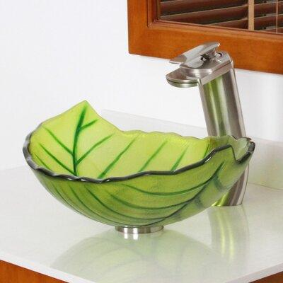 Elite Systems Hot Melted and Hand Painted Spring Leaf Transparent Bowl Glass Specialty Vessel Bathroom Sink Spring+P01008C Drain Finish: Brushed Nickel