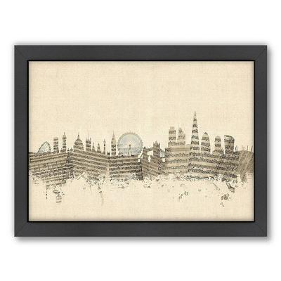 Americanflat Michael Tompsett ''London Sheet Music'' Framed Wall Art, White