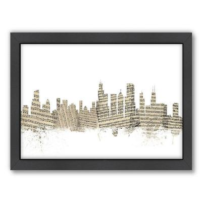 Americanflat Michael Tompsett ''Chicago, Illinois Sheet Music'' Framed Wall Art, White