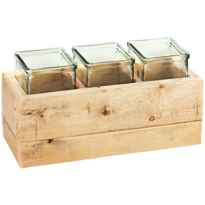 """CAL-MIL 3406-6 Vintage 6"""" Wooden Box Display with 3 Glass..."""