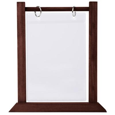 "Menu WFT4S-B 5"" x 7"" Mahogany Wood Flip Top Table Tent - ..."