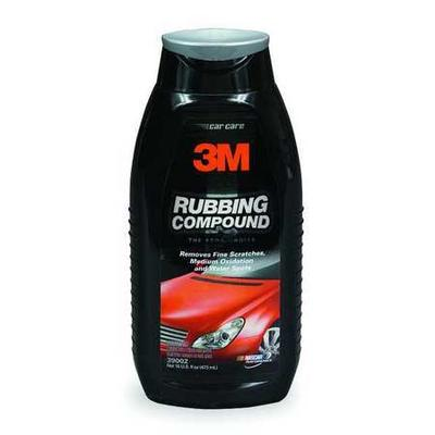 Take a look at the features for 3M Abrasive Rubbing Compound. Container Size: 1 pt., Color: Tan, Container Type: Plastic Bottle.