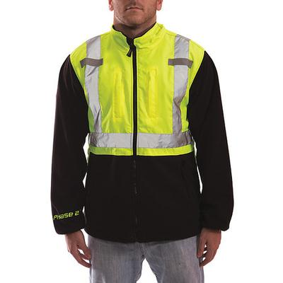 Tingley J73022-XL Hi-Vis Fleece Liner/Jacket, Lime/Blk, XL