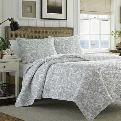 Tommy Bahama Home Island Memory Reversible Quilt Set TBB1662 Size: King Color: Gray