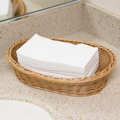 """Lavex Janitorial Linen-Feel 12"""" x 16"""" White 1/6 Fold Gues..."""