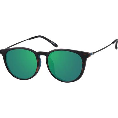 Zenni Round Glasses W/ Snap-On Sunlens Blue Frame Mixed M...