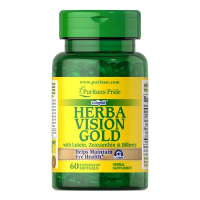 Puritan's Pride HerbaVision Gold Lutein Bilberry with Zeaxanthin-60 Softgels