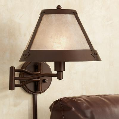 Franklin Samuel Blonde Mica Mission Swing Arm Wall Lamp