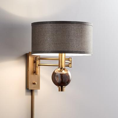 Richford Brass Plug-In Swing Arm Wall Lamp with Dimmer