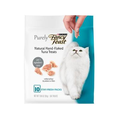 Purely Fancy Feast Natural Hand-Flaked Tuna Cat Treats, 1.06-oz pouch
