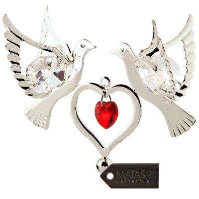 MatashiCrystal Love Doves Hanging with Double Heart Ornam...