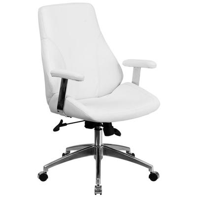 FLASH Furniture BT-90068M-WH-GG Mid-Back White Leather Ex...