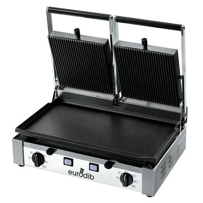 Eurodib PDL3000 Double Panini Grill with Grooved Top and ...