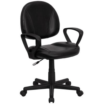 FLASH Furniture BT-688-BK-A-GG Mid-Back Black Leather Erg...