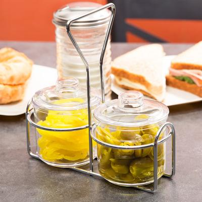 Thunder 2 Compartment Wire Condiment Caddy with 7 oz. Cle...