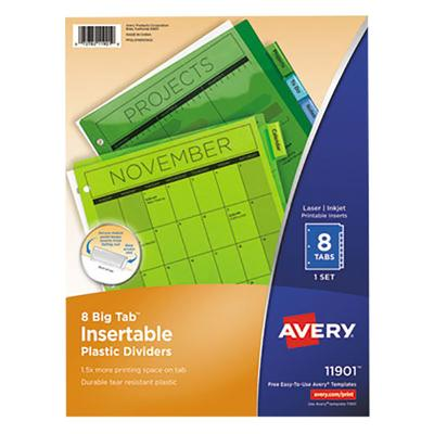 Avery 11901 Big Tab 8-Tab Insertable Multi-Color Plastic ...