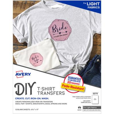 "Avery 3275 8 1/2"" x 11"" Printable Light Pack of T-Shirt T..."