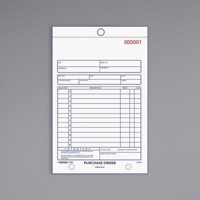 Rediform Purchase Order Book, Bottom Punch, 5-1/2 x 7-7/8, 3-Part Carbonless, 50 Forms