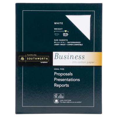 "Southworth Company 404C 8 1/2"" x 11"" White Box of 24# 25%..."